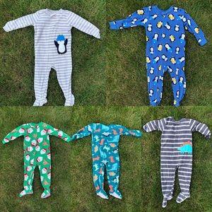 Lot of 5 carter's fleece pajamas size 2T